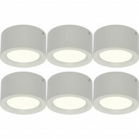 LED Downlight 6 Pack - Opbouw Rond Hoog 10W - Natuurlijk Wit 4200K - Mat Wit Aluminium - Ø140mm