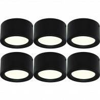 LED Downlight 6 Pack - Opbouw Rond Hoog 10W - Natuurlijk Wit 4200K - Mat Zwart Aluminium - Ø140mm