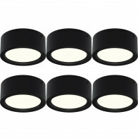LED Downlight 6 Pack - Opbouw Rond Hoog 15W - Natuurlijk Wit 4200K - Mat Zwart Aluminium - Ø180mm