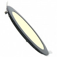 LED Downlight Slim - Inbouw Rond 6W - Dimbaar - Warm Wit 3000K - Mat Zwart Aluminium - Ø120mm