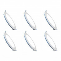 LED Downlight Slim 6 Pack - Inbouw - 6W - Helder/Koud Wit 6000K - Rond - Mat Wit - Aluminium - Ø120mm