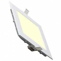 LED Downlight Slim - Inbouw Vierkant 15W - Warm Wit 2700K - Mat Wit Aluminium - 195mm
