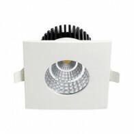 LED Downlight - Inbouw Vierkant 6W - Waterdicht IP65 - Natuurlijk Wit 4200K - Mat Wit Aluminium - 90mm