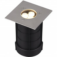 LED Grondspot - Trion Baliyi - Inbouw Vierkant - 3W - Waterdicht IP65 - Warm Wit 3000K - Mat Nikkel - RVS