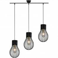 LED Hanglamp - Hangverlichting - Trion Divo - E27 Fitting - 3-lichts - Rond - Mat Zwart - Aluminium