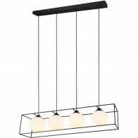 LED Hanglamp - Hangverlichting - Trion Gebia - E27 Fitting - 4-lichts - Vierkant - Mat Zwart - Aluminium