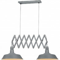 LED Hanglamp - Trion Detrino - E27 Fitting - 2-lichts - Rond - Beton Look - Aluminium