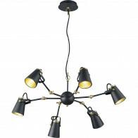LED Hanglamp - Trion Edwy - E14 Fitting - 6-lichts - Rond - Mat Zwart - Aluminium