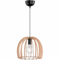 LED Hanglamp - Trion Wody - E27 Fitting - Rond - Mat Lichtbruin Hout