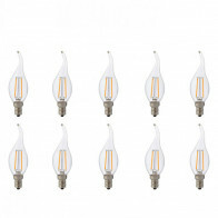 LED Lamp 10 Pack - Kaarslamp - Filament Flame - E14 Fitting - 2W - Natuurlijk Wit 4200K