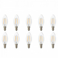 LED Lamp 10 Pack - Kaarslamp - Filament - E14 Fitting - 2W - Natuurlijk Wit 4200K