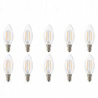 LED Lamp 10 Pack - Kaarslamp - Filament - E14 Fitting - 4W - Natuurlijk Wit 4200K