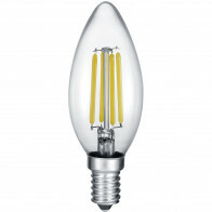 LED Lamp - Kaarslamp - Filament - Trion Kurza - 4W - E14 Fitting - Warm Wit 2700K - Dimbaar - Transparent Helder - Glas