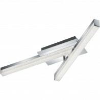 LED Plafondlamp - Plafondverlichting - Trion Aloany - 18W - Warm Wit 3000K - 2-lichts - Rechthoek - Glans Chroom - Aluminium