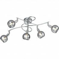 LED Plafondlamp - Plafondverlichting - Trion Brista - E14 Fitting - 5-lichts - Rond - Glans Chroom - Aluminium