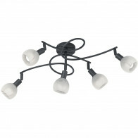 LED Plafondlamp - Plafondverlichting - Trion Brista - E14 Fitting - 5-lichts - Rond - Mat Zwart - Aluminium
