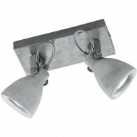 LED Plafondspot - Trion Conry - GU10 Fitting - 2-lichts - Rechthoek - Mat Grijs Beton Look - Aluminium