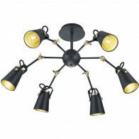 LED Plafondlamp - Plafondverlichting - Trion Edwy - E14 Fitting - 6-lichts - Rond - Mat Zwart - Aluminium