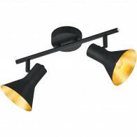 LED Plafondspot - Trion Nana - E14 Fitting - 2-lichts - Rond - Mat Zwart - Aluminium