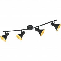 LED Plafondspot - Trion Nana - E14 Fitting - 4-lichts - Verstelbaar - Rond - Mat Zwart - Aluminium