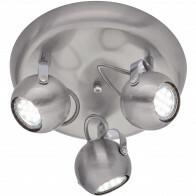 LED Plafondspot - Trion Bosty - GU10 Fitting - 3-lichts - Rond - Mat Nikkel - Aluminium