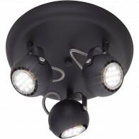 LED Plafondspot - Trion Bosty - GU10 Fitting - 3-lichts - Rond - Mat Zwart - Aluminium