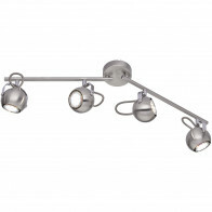 LED Plafondspot - Trion Bosty - GU10 Fitting - 4-lichts - Rond - Mat Nikkel - Aluminium