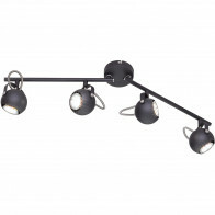 LED Plafondspot - Trion Bosty - GU10 Fitting - 4-lichts - Rond - Mat Zwart - Aluminium