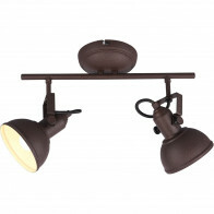 LED Plafondspot - Trion Gini - E14 Fitting - 2-lichts - Rond - Roestkleur - Aluminium