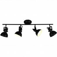 LED Plafondspot - Trion Gini - E14 Fitting - 4-lichts - Rond - Mat Zwart - Aluminium