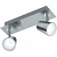 LED Plafondspot - Trion Narca - 12W - Warm Wit 3000K - 2-lichts - Rechthoek - Mat Nikkel - Aluminium