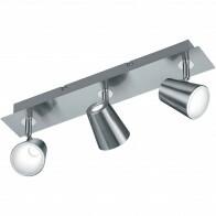 LED Plafondspot - Trion Narca - 18W - Warm Wit 3000K - 3-lichts - Rechthoek - Mat Nikkel - Aluminium
