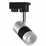LED Railverlichting - Track Spot - 8W 1 Fase - Rond - Natuurlijk Wit 4200K - Mat Zwart/Zilver Aluminium