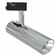 LED Railverlichting - Track Spot - Facto - 30W 1 Fase - Rond - Natuurlijk Wit 4000K - Glans Chroom Aluminium