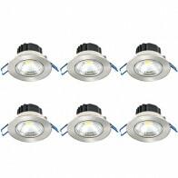LED Spot 6 Pack - Inbouwspot - Lila - 5W - Helder/Koud Wit 6400K - Rond - Mat Chroom - Aluminium - Kantelbaar - Ø83mm