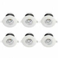LED Spot 6 Pack - Inbouwspot - Rond 6W - Waterdicht IP65 - Natuurlijk Wit 4200K - Mat Wit Aluminium - Ø90mm