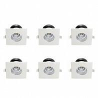 LED Spot 6 Pack - Inbouwspot - Vierkant 6W - Waterdicht IP65 - Natuurlijk Wit 4200K - Mat Wit Aluminium - 90mm