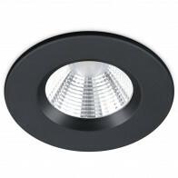 LED Spot - Inbouwspot - Trion Zagrona - 5W - Waterdicht IP65 - Dimbaar - Warm Wit 3000K - Mat Zwart - Aluminium - Rond