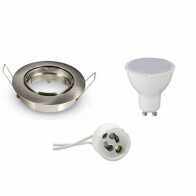 LED Spot Set - Aigi - GU10 Fitting - Inbouw Rond - Mat Chroom - 6W - Warm Wit 3000K - Kantelbaar Ø82mm