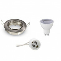 LED Spot Set - GU10 Fitting - Dimbaar - Inbouw Rond - Mat Chroom - 6W - Warm Wit 3000K - Kantelbaar Ø82mm