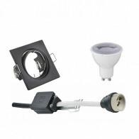LED Spot Set - Trion - GU10 Fitting - Dimbaar - Inbouw Vierkant - Mat Zwart - 6W - Helder/Koud Wit 6400K - Kantelbaar 80mm