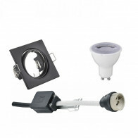 LED Spot Set - Trion - GU10 Fitting - Dimbaar - Inbouw Vierkant - Mat Zwart - 6W - Warm Wit 3000K - Kantelbaar 80mm
