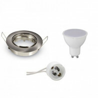 LED Spot Set - Aigi - GU10 Fitting - Inbouw Rond - Mat Chroom - 8W - Helder/Koud Wit 6400K - Kantelbaar Ø82mm