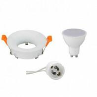 LED Spot Set - GU10 Fitting - Inbouw Rond - Mat Wit - 8W - Natuurlijk Wit 4200K - Ø85mm