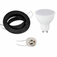 LED Spot Set - GU10 Fitting - Inbouw Rond - Mat Zwart - 4W - Warm Wit 3000K - Kantelbaar Ø82mm