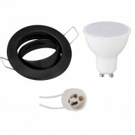 LED Spot Set - Aigi - GU10 Fitting - Inbouw Rond - Mat Zwart - 8W - Warm Wit 3000K - Kantelbaar Ø82mm