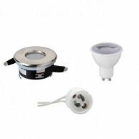 LED Spot Set - GU10 Fitting - Waterdicht IP65 - Dimbaar - Inbouw Rond - Mat Chroom - 6W - Natuurlijk Wit 4200K - Ø82mm