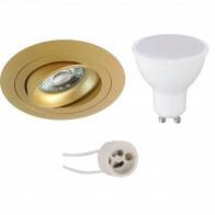 LED Spot Set - Pragmi Alpin Pro - GU10 Fitting - Dimbaar - Inbouw Rond - Mat Goud - 6W - Helder/Koud Wit 6400K - Kantelbaar - Ø92mm