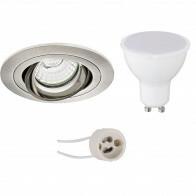 LED Spot Set - Pragmi Alpin Pro - GU10 Fitting - Inbouw Rond - Mat Nikkel - 6W - Natuurlijk Wit 4200K - Kantelbaar - Ø92mm