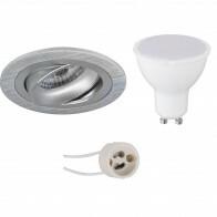 LED Spot Set - Pragmi Alpin Pro - GU10 Fitting - Inbouw Rond - Mat Zilver - 6W - Warm Wit 3000K - Kantelbaar Ø92mm